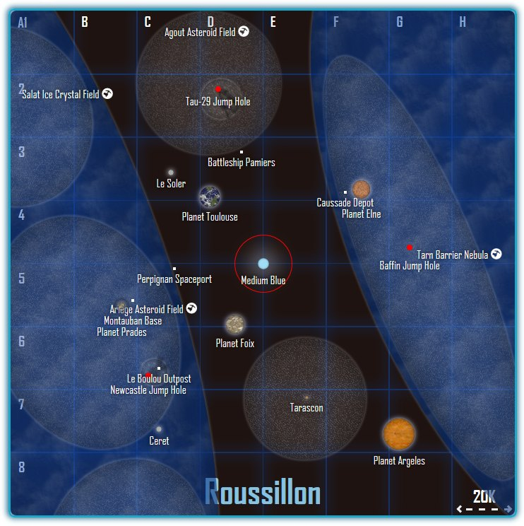 A map of Discovery Freelancer's Roussillon system, as shown in Firefox 42.0 on 21.01.2016.